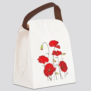 Red Poppies Canvas Lunch Bag